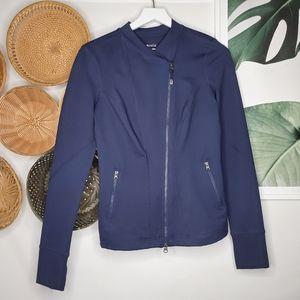 Zella Blue Moto Zip Running Jacket M